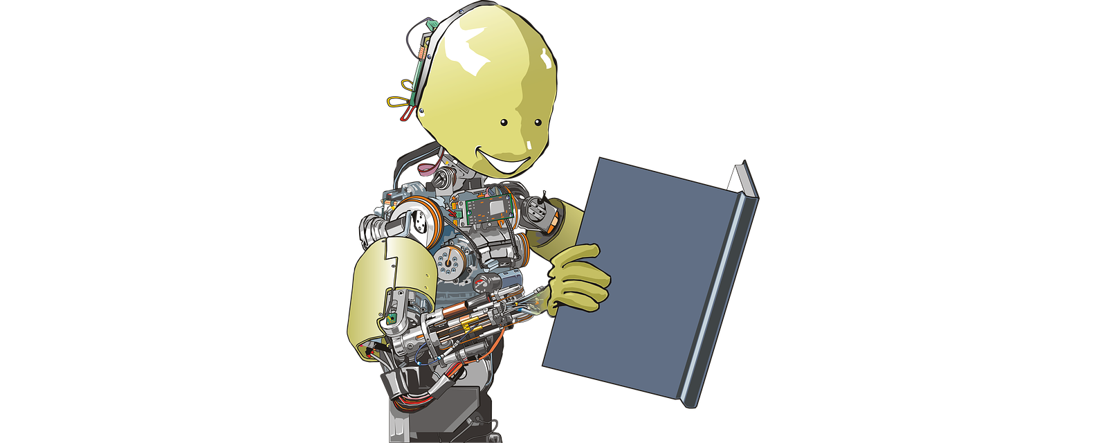 Drawing of a robot reading a book